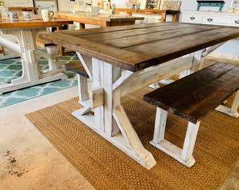 Rustic Trestle Style Farmhouse Table Set with Benches, Darkwalnut Top with Breadboards, Distressed White Base Wooden Dining Set