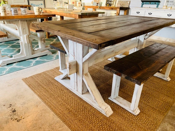 Miraculous Rustic Trestle Style Farmhouse Table Set With Benches Darkwalnut Top With Breadboards Distressed White Base Wooden Dining Set Machost Co Dining Chair Design Ideas Machostcouk