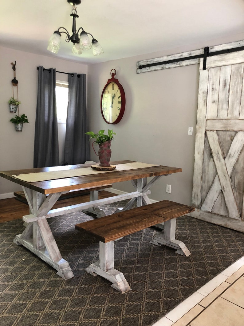 Rustic Pedestal Farmhouse Table With Benches Provincial Brown Etsy