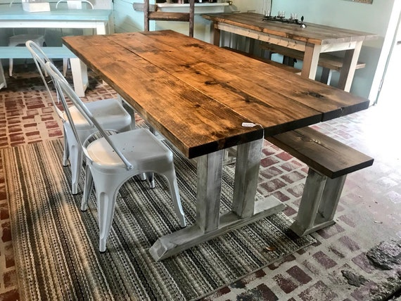 Prime Rustic Farmhouse Table With Long Bench And Metal Chairs Provincial Brown Top Distressed White Base Dining Set 6Ft Table Machost Co Dining Chair Design Ideas Machostcouk
