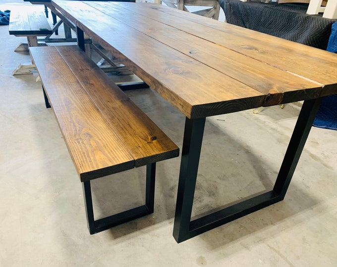 Industrial Farmhouse Table with Bench, Rustic Steel Black Legs, Provincial Brown Wooden Top, 7ft Dining Set, Industrail Design