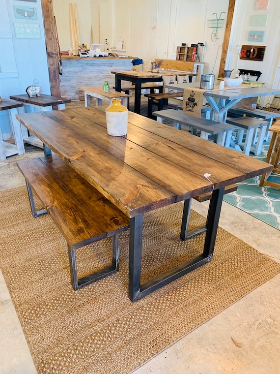Awe Inspiring Industrial Farmhouse Table With Benches Rustic Steel Legs Provincial Brown Wooden Top 6Ft Dining Set Industrail Design Gmtry Best Dining Table And Chair Ideas Images Gmtryco