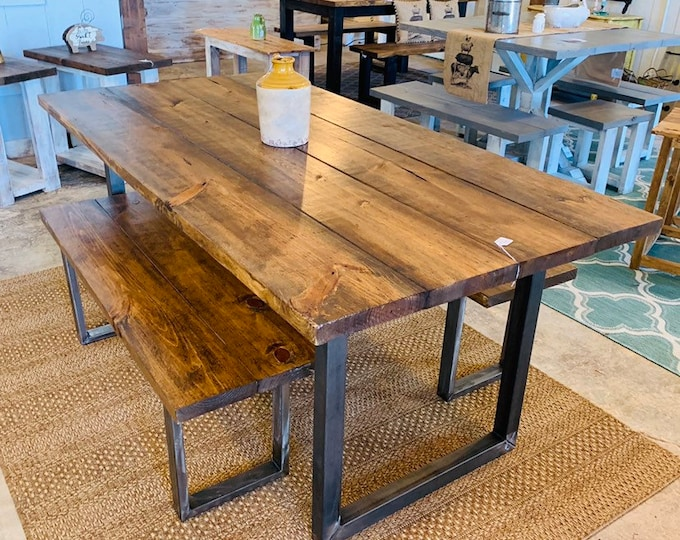Industrial Farmhouse Table with Benches, Rustic Steel Legs, Provincial Brown Wooden Top, 6ft Dining Set, Industrail Design