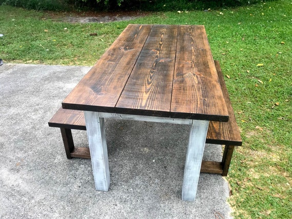 Cool Dark Walnut Farmhouse Table With Benches Rustic Wooden Dark Walnut Top And Creamy White Distressed Base Dining Or Kitcen Table Forskolin Free Trial Chair Design Images Forskolin Free Trialorg