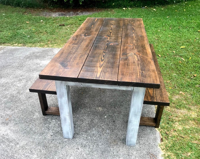 Dark Walnut Farmhouse Table With Benches Rustic Wooden Dark Walnut Top and Creamy White Distressed Base Dining or Kitcen Table