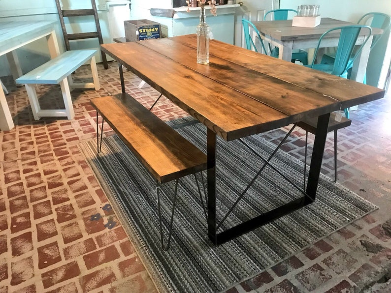 Industrial Style Farmhouse Table With Benches With Hairpin Legs, Flat Iron  Table Base, Provincial Stained Wooden Top, Industrial Dining Set
