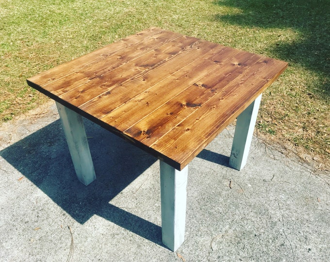Square Farmhouse Table, Rustic Farmhouse Table, Provincial Brown Top Gray White Wash Base, Wooden Dining Table