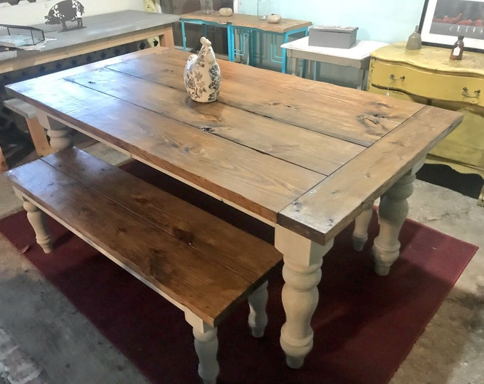 Rustic Farmhouse Table Set with Chunky Turned Legs and Breadboards , Two Benches, Provincial Brown Top and Gray Sun Bleached Stain Base