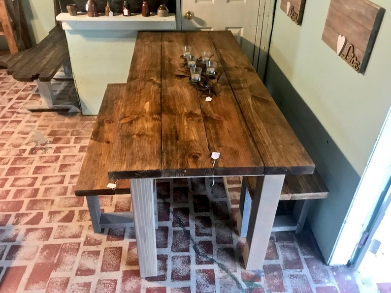 Rustic Wooden Farmhouse Table Set with Provincial Brown Top and Classic Gray Base Includes Two Benches Dining Set With Matching Kids Set