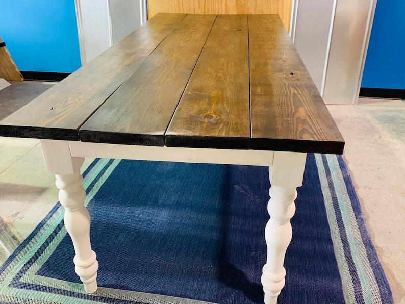 80e2d8cc4dcae9 7ft Rustic Farmhouse Table with Turned Legs Dark Walnut Top | Etsy