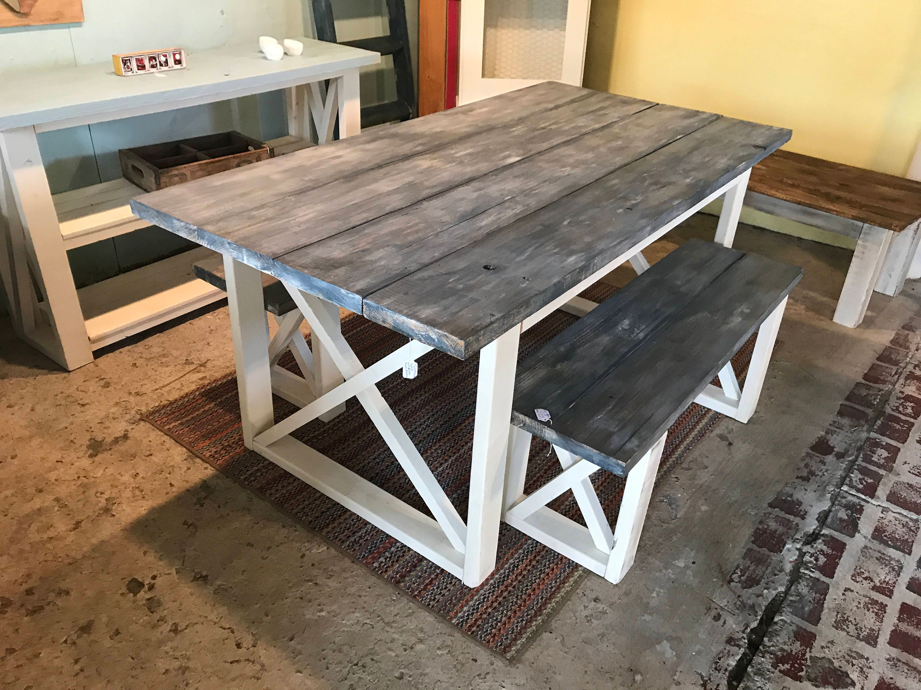 Rustic Farmhouse Table With Benches With White Wash