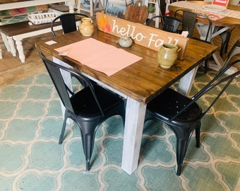 Square Farmhouse Table, Rustic Small Farmhouse Table, Dining Set with Black Metal Chairs, Provincial Top Distressed White Base