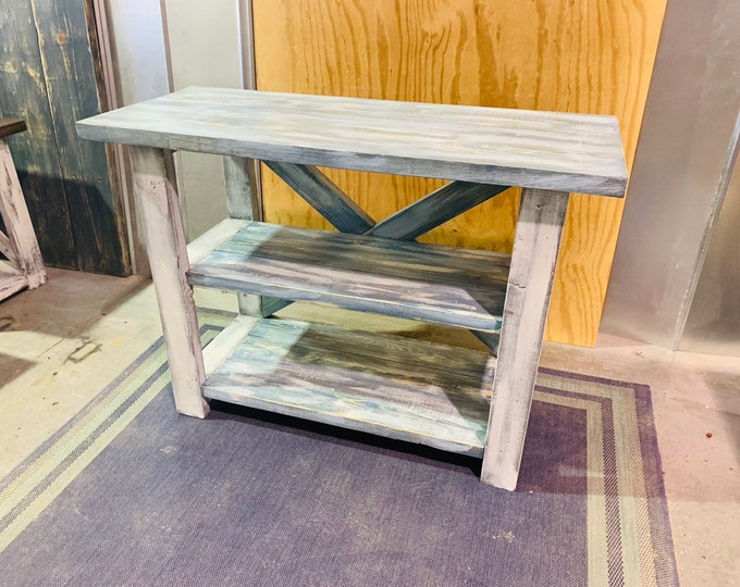 Rustic Farmhouse Entryway Table, Wooden Buffet or Comsole Table, With Worn Navy Shelves, White Distressed Base, X Accent, Beach Decor