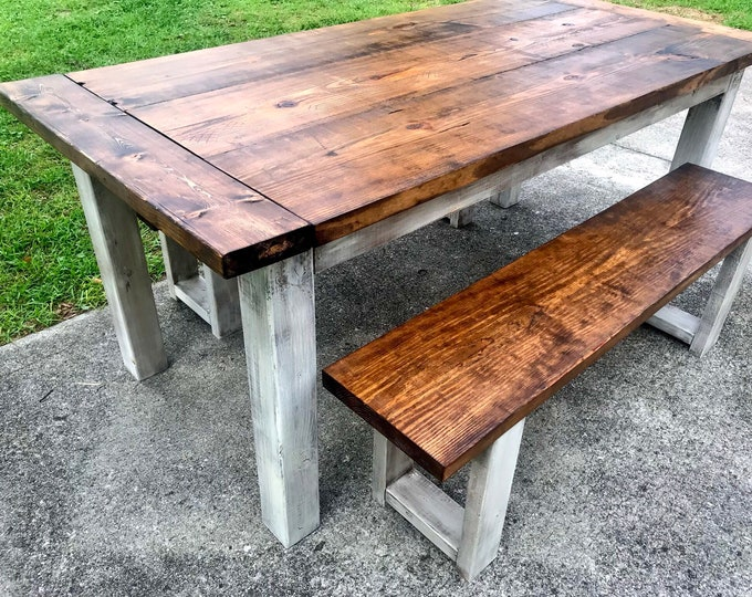 Rustic Wooden Farmhouse Table Set Breadboard Ends Provincial Brown Top and White Distressed Base Includes Two Rustic Benches