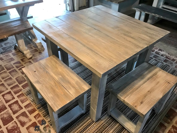 Square Farmhouse Table Rustic Farmhouse Table Dining Set With Stools Table With Small Benches White Wash With Glossy Top