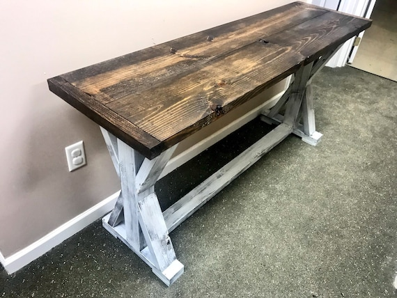 Fine Rustic Console Table Farmhouse Pedestal Entryway Table With Dark Walnut Top And Distressed White Base Handmade Buffet Beatyapartments Chair Design Images Beatyapartmentscom