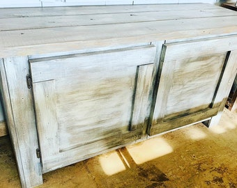 Rustic Farmhouse Buffet Distressed White Base and White Wash Top, Wooden Cabinet with Doors, Server, Entertainment Stand with Storage
