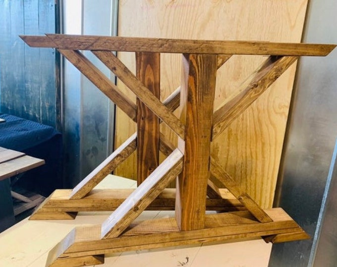 DIY Farmhouse Table Leg Set, Wanut Stained Trestle Style Legs, Pedestal Table Legs, Wooden Table Legs, Dining Set