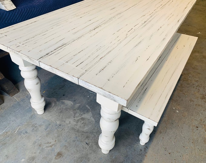 7ft Rustic Farmhouse Table and Bench with Turned Legs, White Distressed Top and  Base, Wooden Dining Table, Kitchen Table