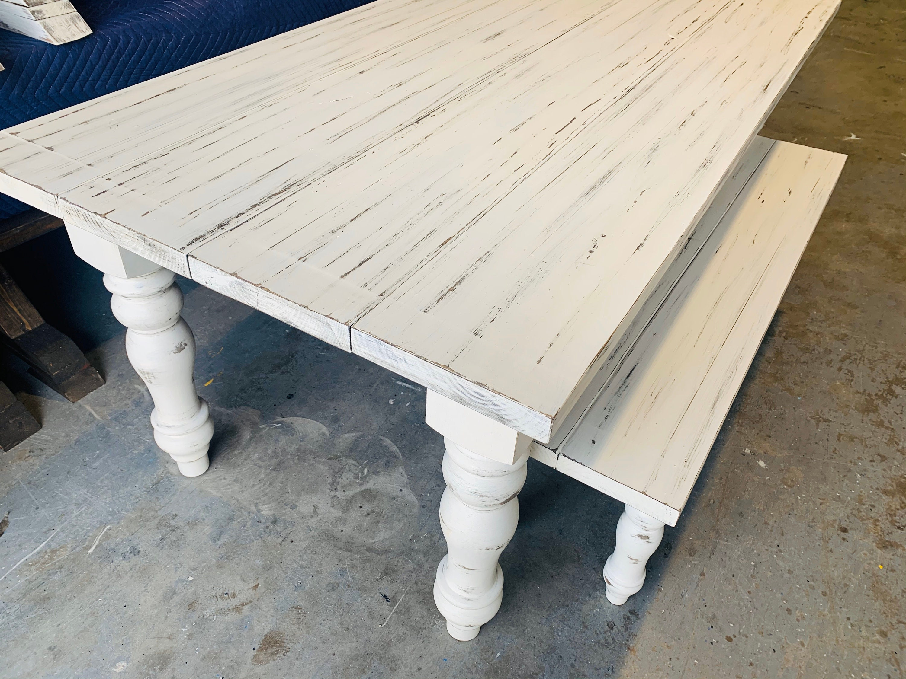 7ft Rustic Farmhouse Table and Bench with Turned Legs ...