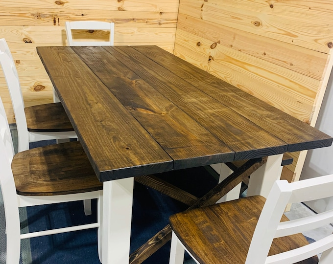Rustic Farmhouse Table Set with Chairs and Bench, Dark Walnut Top and White Base, Handmade Wooden Dining Room Set, Kitchen Table