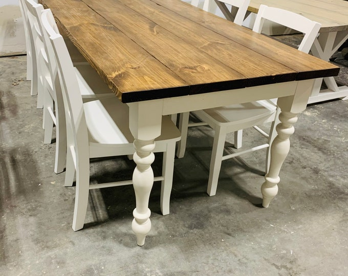 8ft Rustic Farmhouse Table with Chairs and Turned Legs, Provincial Brown Top and Antique White Base, Wooden Dining Table