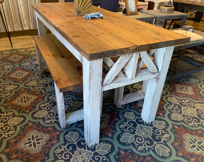 Rustic Wooden Farmhouse Table Set with Early American Brown Top and White Distressed Base Criss Cross Style Includes Two Benches