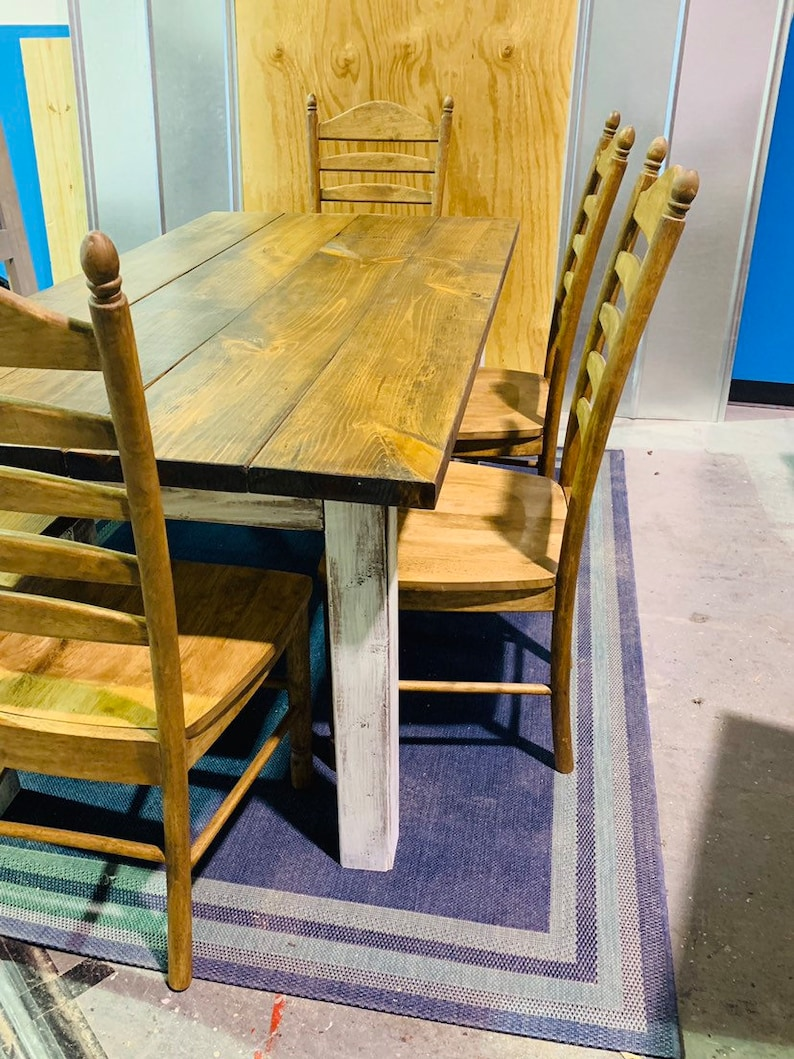 Rustic Farmhouse Has Table Set With Bench And Chair Set Etsy