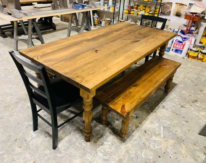 Rustic Farmhouse Table with Turned Legs, Benches and Black Chairs, Provincial Brown Stain Finish, Dining Set with Wooden Ladder Back Chairs