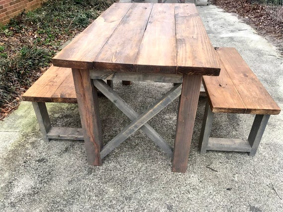 Rustic Wooden Small Farmhouse Table Set With Provincial Brown Etsy