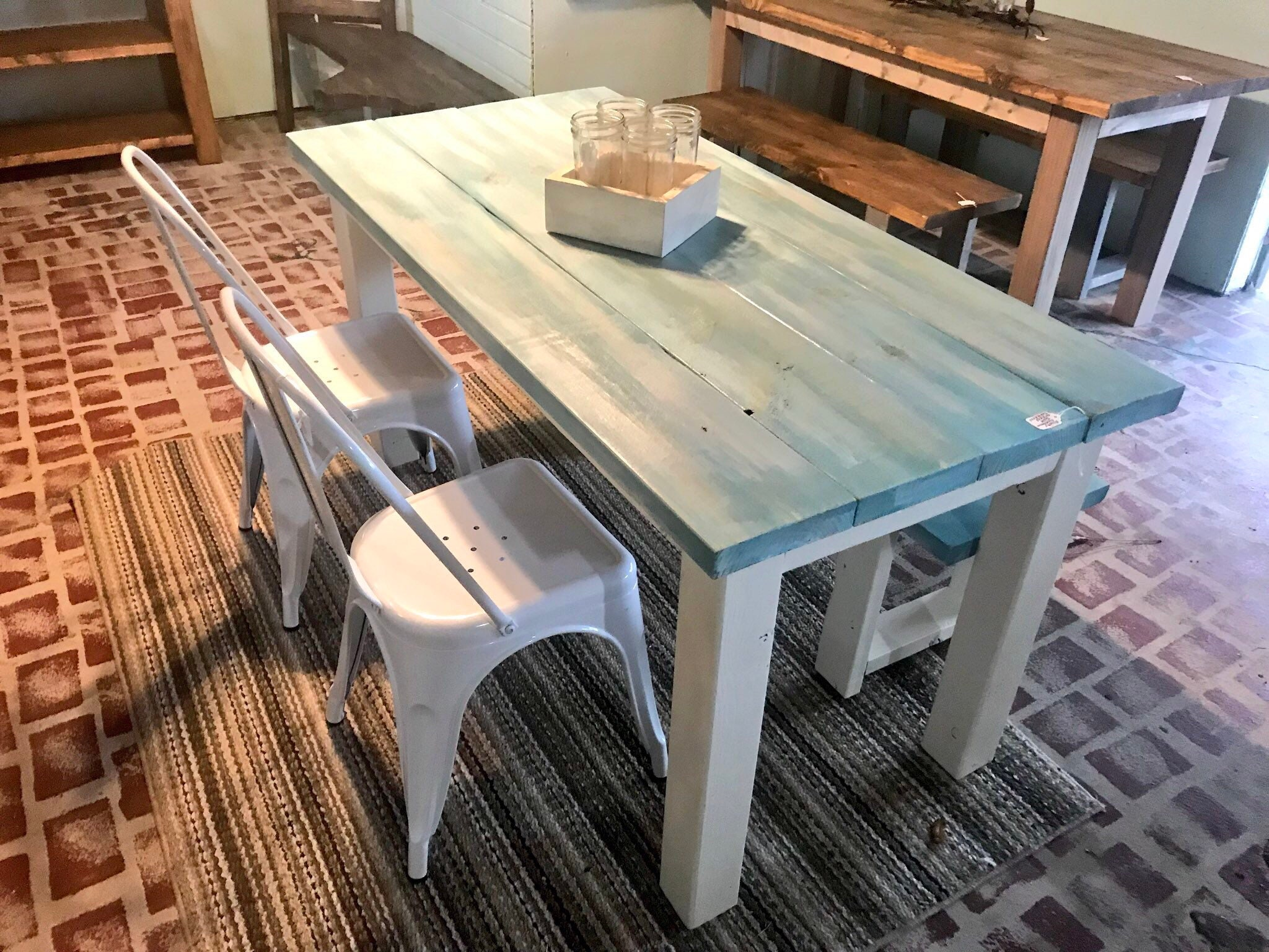 Vintage Aqua Small Farmhouse Table Set With Bench And