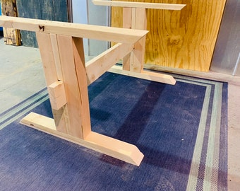 Rustic Farmhouse Table Trestle Style Base, Unfinished DIY Wooden Table Base, DIY Farmhouse Table, Wooden Pedestal Dining Base