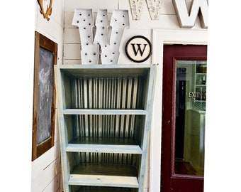 Rustic Farmhouse Style Bookshelf with a Distressed Aqua Milk Paint Finish With Tin Metal Accents Wooden Shelving Bookcase