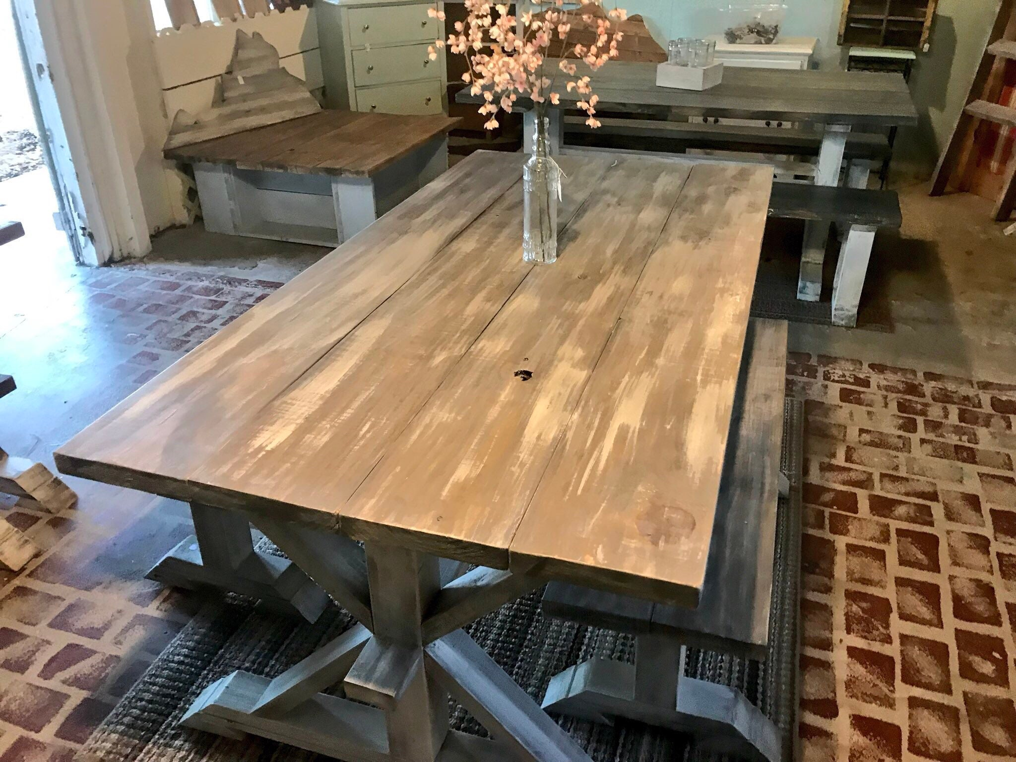 Rustic Pedestal Farmhouse Table With Benches Gray White