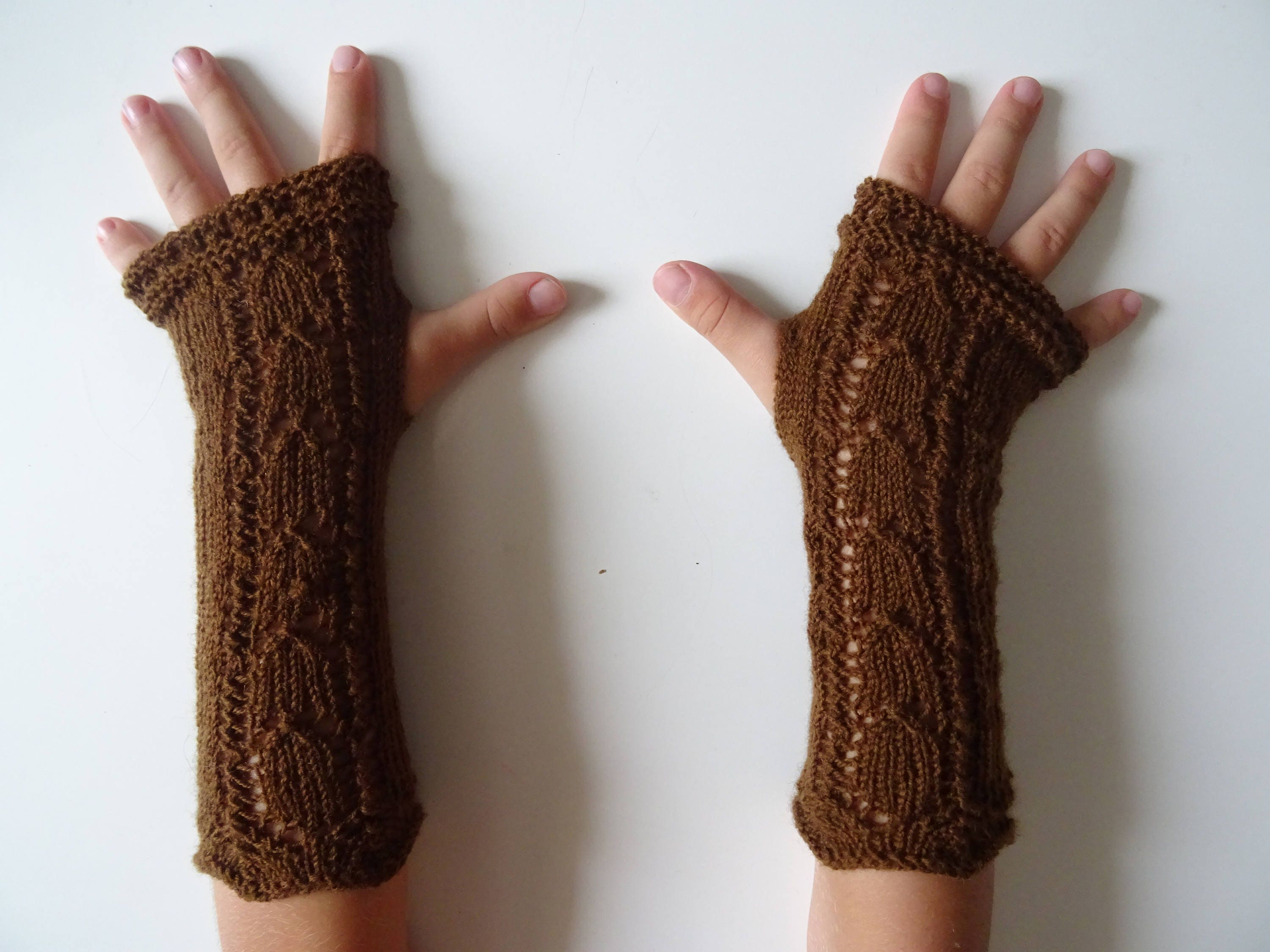 b375fdea3 Mittens for girls girl gloves lace decoration brown mitts | Etsy