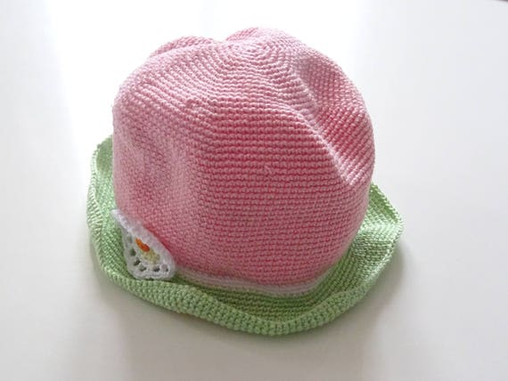 eeba2c871c1 Pink white and green cotton hat with flower sun hat baby
