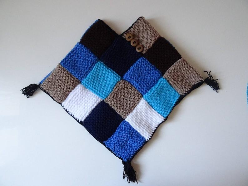 blue and brown camaieu winter accessories Children/'s poncho children/'s knitwear children/'s coat children/'s cape hand-knitted