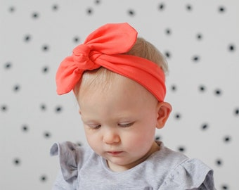 One Size White Blush Coral Coral Ombre Nylon Newborn Baby Bow Headband