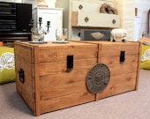 Large Vintage Wooden Chest Trunk Rustic Storage Blanket Box Coffee table