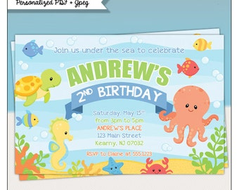 Under The Sea Birthday Party Printable Invitations