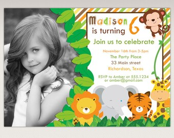 Safari Jungle Animals Birthday Party Printable Photo Invitation #366