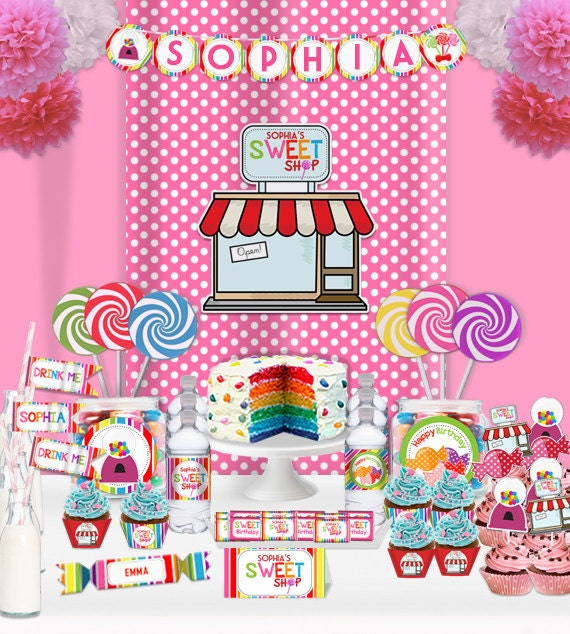 Sweet Shop CandyLand Lollipop Birthday Party Printable Wall | Etsy