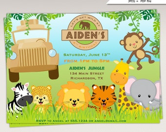 Safari Jungle Animals Birthday Party printable invitation #334