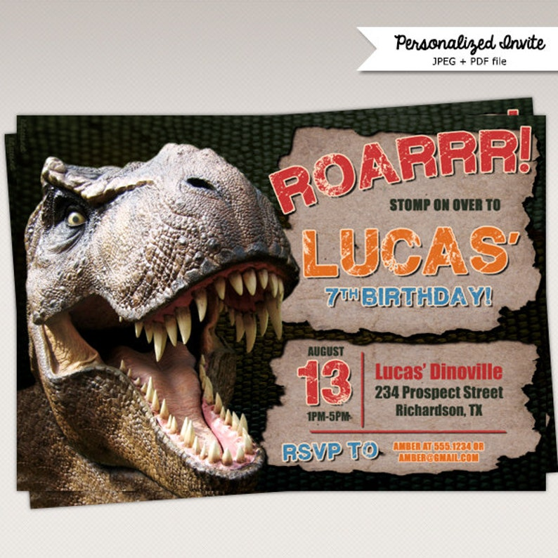Dinosaur T Rex Birthday Party Invitation 374