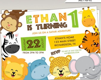 Safari Jungle Animals Birthday Party printable invitation #434