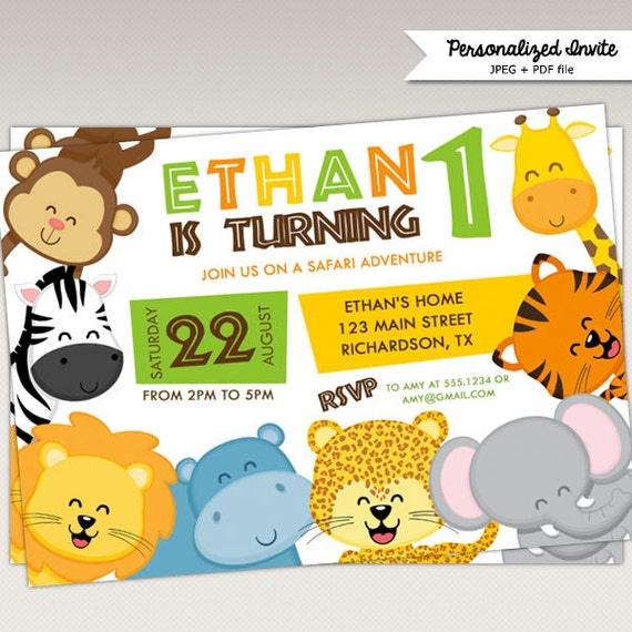 Safari Jungle Animals Birthday Party Printable Invitation 434