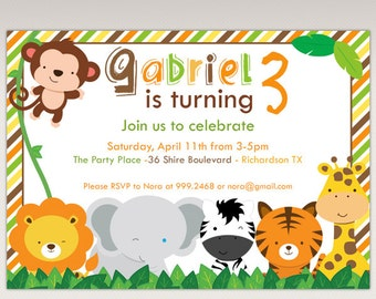 Safari Jungle Animals Birthday Party Printable  Invitation #462