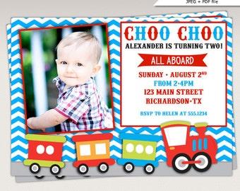 Choo Choo Train Birthday Party Photo Invitation Blue and Red #356