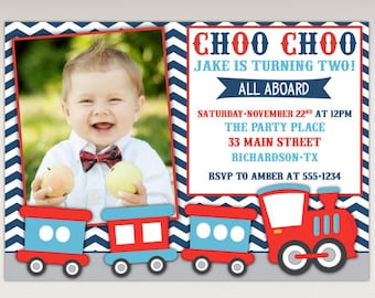 Choo Choo Train Birthday Party Photo Invitation navy chevron #450