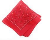 Red Silk Hankie - Made in Italy - Deco Patterned Hanky - Fun Hanky - Gift - Collect - Wedding - Doll Clothes - Quilts - Purses - Present